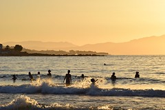and the time goes by... (JoannaRB2009) Tags: time water sea mediterranean sunset fun holiday landscape seascape nature view people silhouettes waves sunsetbeach chania xania canea katodaratsos crete kriti kreta greece