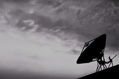 Radio on Europa (hanley.will) Tags: black white satellitedish jupiter scifi sciencefiction science shade gray