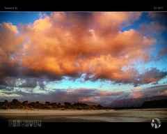 Looking East at Sunset (tomraven) Tags: clouds sky sun sunset beach karamea mountains forest wilderness tomraven aravenimage q12017 pentax k50