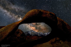Milky Way Over Mobius Arch (Bill Wight CA) Tags: copyright2017 billwight northamerica america unitedstates usa americanwest pacificstates california inyocounty lonepine alabamahills highsierra sierranevada sierranevadamountains sierras lonepinepeak snowcoveredmountains serene mountain rocks boulders mobius arch formations travel destination hiking recreation landscape nobody outdoor outdoors outside geologic geology granite silence tourism colors composition nature skies sky night milkyway galaxy universe lightpainting stars nightphotography