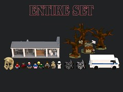 Lego Stranger Things - Entire Set (bradders1999) Tags: lego digital designer ldd bricks brick built stanger things strange thing season 2 pictures picture render monster monsters creature creatures vehicle van bike bicycle forest trees wood tree house building creative horror movie tv show netflix original series font new news 2017 byers brenner 11 eleven scary creepy 80s 1980s classic cult et star wars spielberg alien aliens