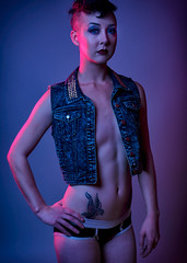 Emory Moon 1 (Rod Nunley) Tags: model gels color shaved head lingerie boyshorts