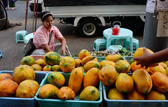 People selling fruits at market (phuong.sg@gmail.com) Tags: asia asian bogyoke burma burmese business buy cuisine culture ethnic female food fresh fruit green healthy heritage journey landmark lifestyle market meal merchant myanmar nutrition outdoor outside people portrait product rangoon rural sale sell street style tourism tradition traditional travel urban vegetable vendor woman yangon