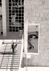 Cry Baby Cry (kirstiecat) Tags: thebeatles lyrics la losangeles cry poster art getty museum gallery america us unitedstates monochrome monochromemonday blackandwhite street canon shadows people strangers beautifulstrangers stairs perspective tears dream surreal photography meta weep sob sadness melancholia noir sigh music manray