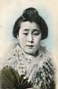 Koteko with a Lamb's Wool Collar 1910s (Blue Ruin 1) Tags: geigi geiko geisha japanese japan meijiperiod taishoperiod 1910s postcard handcolouredpostcard koteko osaka