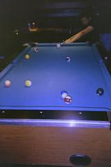 (imburningout) Tags: playing game film pool 35mm canon ball dark pub fuji cue superia flash 400 billiard sureshot xtra