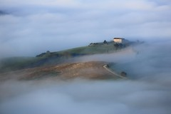 漫  Wreathed in Mist  ~   Advection fog @  Pienza, Val d'Orcia, Tuscany  ( Toscana ) , Italy  托斯卡尼,歐查谷地(奧爾恰谷),皮恩札  ~ (PS兔~兔兔兔~) Tags: travel trees sky italy sun sunlight house holiday color tree green nature field grass yellow horizontal comfortable clouds canon landscape outdoors photography florence cozy corn europa europe italia european day afternoon wheat slide nopeople farmland unesco worldheritagesite growth val tuscany fields cypress siena prairie pienza sangimignano toscana valdorcia grassland range rollinghills cypresstrees scenics nationalgeographic whs cretesenesi agriturismo 義大利 seaofclouds tranquilscene dorcia weat 佛羅倫斯 traveldestinations colorimage 田園風光 beautyinnature sanquiricodorcia 托斯卡尼 latoscana 世界文化遺產 etruscancivilization 平流霧 thecypressgroove medicivillasandgardens