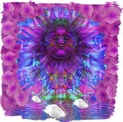 The Hamsa of  Lake Manasarova (virtually_supine) Tags: blue sun texture collage photomanipulation purple border creative vividcolour swans montage layers digitalmanipulation primroses digitalartwork compositeimage photoshopelements9 hindulegendandmyth kreativepeopletreatthis88sourceimagesunsetonthebeachbyabstractartangel77 kreativepeopletreatthis71sourceimagesunshinebybrillianthues pseeffectscookiecutterhues