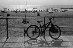 Gone Fishing (thereisnocat) Tags: beach bicycle newjersey nj boardwalk monmouthcounty railing rodinal avon fishingpole kodalith fed5c industar61ld avonbythesea kodalith6556