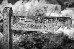 We all have a story to tell. What's yours? (arctia) Tags: blackandwhite flower monochrome sign garden point message post secret story direction vision dreams highclerecastle downtonabbey