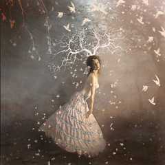 Winter's End ('_ellen_') Tags: woman tree forest white leaves birds night dark light underwear underskirt blueflowers mystical whimsical