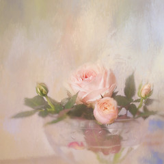 Rose in a bowl (BirgittaSjostedt) Tags: rose nature flower card greetings texture soft paint closeup still magicunicornverybest ie