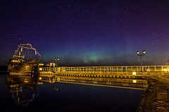 Northern lights over the lake (Crearto.in) Tags: landscape aurora night stars ship lake lights pier canon eos 7d poland polska exposure surreal