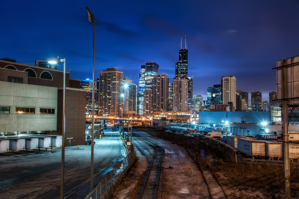 A view of the Skyline from the train yard at the intersection of Halsted and Chicago Avenue.