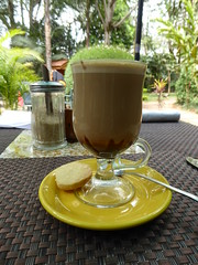 Mocca and a biscuit (prondis_in_kenya) Tags: kenya nairobi shortrains fairview hotel restaurant terrace lunch garden mocca coffee biscuit glass saucer