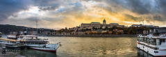 Budapest sunset on the Danube (migalvanas) Tags: budapest danube bridge palace river clouds hungary boat ferry reflection panorama landscape