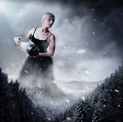 Snow. (tooga1) Tags: snow salt sel femme beauty portrait creation fineart neige cold froid cool grey gris concept conceptual squre mountain sapin pin foret forest wild dress csnow snowflakes tooga lea fery leafery dream surreal surrealism photoshop montage montagne manipulation nikon d750
