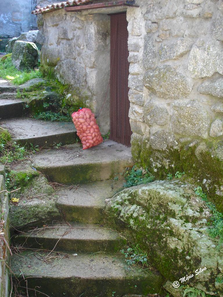 Águas Frias (Chaves) - ... saco de batatas à porta ...