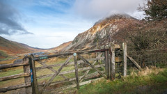 The gate to wonderland (Einir Wyn) Tags: snowdonia hiking gate ogwen winter colour landscape mountain foliage outdoor seasons valley wales cymru beautiful green blue tree walking sky clouds