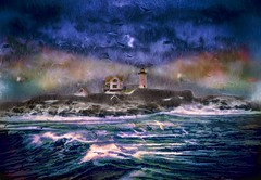 Seacoast Lighthouse in Late Winter (Rusty Russ) Tags: nubble lighthouse maine ocean storm waves night light sky sea colorful day streetart digital graffiti europe mer lago window flickr country landschaft mare analog bright happy la paysage colour eos scenic america cielo market hill world sunset beach water flower red nature blue white tree green art sun cloud park landscape summer city yellow people pink house old new photoshop google