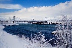 Bridge over Ölfusá (skolavellir12) Tags: ölfusá iceland selfoss water winter river elv snö snjór