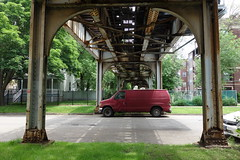 Claret rep (KevinIrvineChi) Tags: above railroad light shadow red urban chicago green leaves train photography photo leaf rust shadows cta under tracks rusty photograph greenery van lush claret ravenswood bowmanville chicagoist ctabrownline