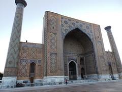 Ulugh Bek Madrasah, Registan, Samarkand, June 2015 (leonyaakov) Tags: summer museum ceramic minaret muslim religion ceremony mosque unesco promenade uzbekistan samarkand citycenter sunnyday citytour ouzbekistan greatphotographers   nikonflickraward
