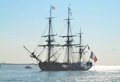 L'Hermione (jelpics) Tags: ocean sea france boston sailboat port french harbor boat ship massachusetts navy sail mast tallship frigate naval bostonma rigging bostonharbor sailingvessel lhermione