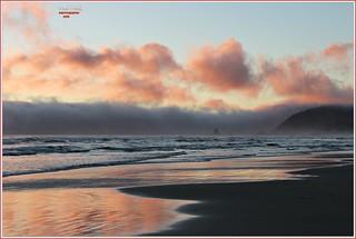 fog bank at sunset...