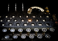Keyboard & Illuminated Encrypted Letter Of A German World War 2 'Enigma' Machine (Peter Greenway) Tags: enigmamachine bletchleypark decipher enigma cogs encryption historic keys ww2 worldwartwo cipher encrypted codebreakers blackwhite illuminated bw secret keyboard decryption
