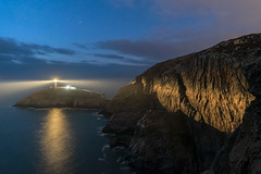 'Twilight Illumination' - South Stack, Anglesey (Kristofer Williams) Tags: lighthouse southstack gogarth cliffs light twilight stars night sky sea coast beams landscape nightscape wales anglesey