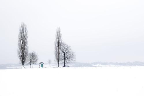 Héron, veldkapel in de sneeuw