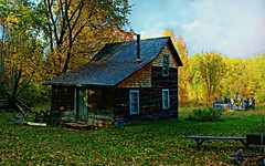 Miners Homestead, Michigan (photographicimages) Tags: home miner michigan steps logs autumn landscape leaves shingles windows