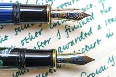 Pelikan M620 Berlin, M nib, and M600, F nib (kitchener.lord) Tags: pens pelikan m600 m620 nib macro ink diamine darkgreen stationery rhodiawebbielined 2017 xf27
