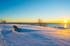 Bench (E. Aguedo) Tags: bench warwick water winter snow sunrise ocean sea tree sun beach rocky point park rhode island new england ngc