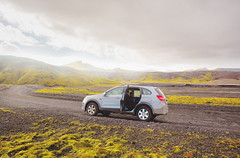 icelandic adventure (Annasara Bjaaland) Tags: road sun green chevrolet car weather clouds landscape iceland cloudy sunny adventure dirt dirtroad icelandic 4w