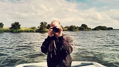 Man on boat (kielhorn.christoph) Tags: sky people guy canon river germany deutschland boot boat picture bluesky bremen weser fluss eis landschaft selfie achim flsse 600d