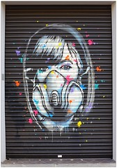 Graffiti (Zabou), East London, England. (Joseph O'Malley64) Tags: uk greatbritain england streetart london wall graffiti paint britain spray shutter british walls cans aerosol eastend eastlondon wallmural muralist rollershutter zabou