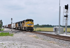 UP#8858 EAST NS 10E ON THE DIAMOND MAPLE GROVE BETTSVILLE,OHIO 6-22-15 MONDAY (penn central 74) Tags: diamond unionpacific norfolksouthern maplegrove buildingamerica narlo bettsvilleohio nsfostoriadistrict nslakedivision nstrain10e emdsd70ah 062215 up8858