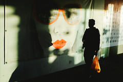 (Jodi Rogers.) Tags: street camera uk light england sun man color colour sunglasses silhouette contrast digital bag photography high cool fuji shadows candid streetphotography stranger lips east fujifilm cropped ipswich compact sensor anglia x100 apsc x100s x100t