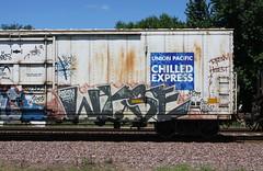 Wyse (quiet-silence) Tags: railroad art train graffiti railcar unionpacific graff d30 freight reefer wh chilledexpress armn fr8 dirty30 wyse a2m