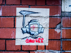 dmstff life support robot (PDKImages) Tags: posterart manchesterstreetgallery manchesterstreetart art artinthecity love walls bee doorways men eyes wall mural couple industrial hidden beauty message hiddenart urbanart