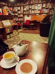 Old still gold (gretanavcikaitė) Tags: tea book bookstore bookworm warm cosy old gold vilnius lithuania perspective contrast colours piano photography travel explore comfortable blues
