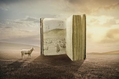 Life is like a book (RoCafe on/off) Tags: manipulation photoshop ps surrealism conceptual fantasy art book sheep countryside sky clouds