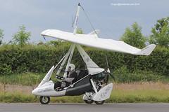 G-CDSM - 2005 build P & M Aviation Quik GT450, arriving at Eshott for the 2014 Great North Fly-in (egcc) Tags: microlight quik 2014 weightshift greatnorth 8146 flexwing gt450 cogger flyuk eshott rotax912 pmaviation gcdsm