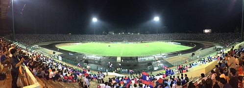 A football match at the Olympic Stadium, Phnom Penh (Chetra Chap, 2015).