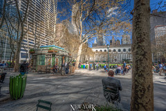 Bryant Park, New York, NY, USA (Stewart Leiwakabessy) Tags: park city nyc newyorkcity travel vacation usa holiday ny newyork buildings us holidays skyscrapers unitedstates unitedstatesofamerica saturation highrise traveling bigapple bryantpark hdr highdynamicrange multiexposure vacationing thebigapple citytrip photomatix bracketed tonemapped murica nyc2015 newyorkcity2015