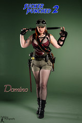 SP2: Domino (2) (FightGuy Photography) Tags: hat boots badass goggles belts redhead armor sword fishnets shorts browneyes grenade abbi studiophotography gladius dangerousbeauty rainn suckerpunched union206 fightguyphotography