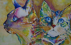 Two cats, by Ademar - DSC00267 (Dona Mincia) Tags: life cute art animal cat watercolor painting paper feline arte study gato vida felino pintura aquarela