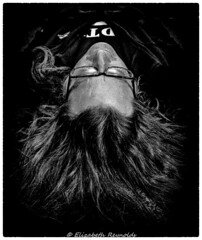 Day 364, 2016, a photo a day. (lizzieisdizzy) Tags: howiemarsh mono monochrome blacandwhite whiteandblack monochromatic male man hair flowing young eyes brighteyes wave wavey wavy glasses slumber asleep reflect reflction floor prostrate laying lay calm dream dreaming